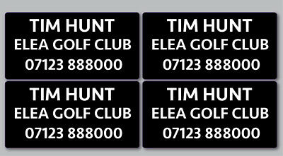 16x Personalised Golf Club Decal Labels 48mmx24mm Any Name - Any Colour
