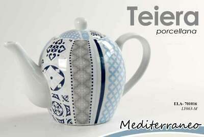 TEIERA THE + TAZZA + PIATTO TE Tè PORCELLANA MEDITERRANEO COLOR ASSOR ELA 700958