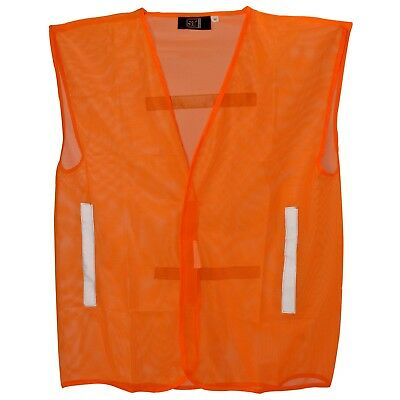 Running Mesh Vest Lightweight High Visibility Orange Reflective Cycling