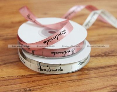 Handmade Print Satin Ribbon Baking Gift Packing Sewing Labels DIY 1cm*22m Roll