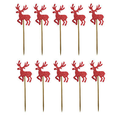 10 Pcs Glitter Reindeer Mini Cupcake Toppers Cake Decorations Toppers Picks