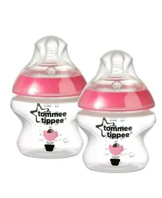 2x 150ML TOMMEE TIPPEE CLOSER TO NATURE 150ML FEEDING DECORATED BOTTLES PINK NEW