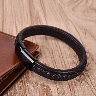 Fashion Men Boy Braided Black Brown Concise Leather Bracele Casual Gift Jewelry
