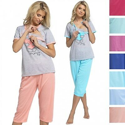 Happy Mama. Women's Maternity Top Nursing Pyjamas Crop Pants Nightwear. 517p