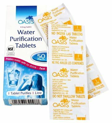 Highlander Oasis 50 Water Purification Tablets Fast Clean Safe Travel Drinking