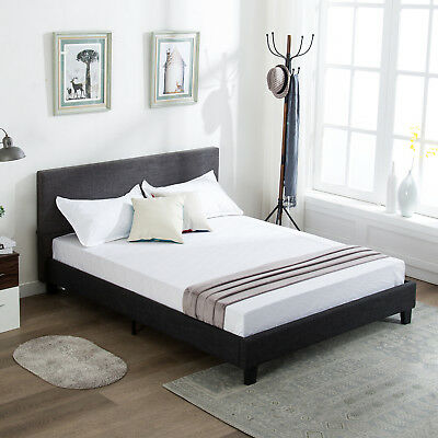 Queen Platform Bed Frame Upholstered Gray Headboard With 10 Memory