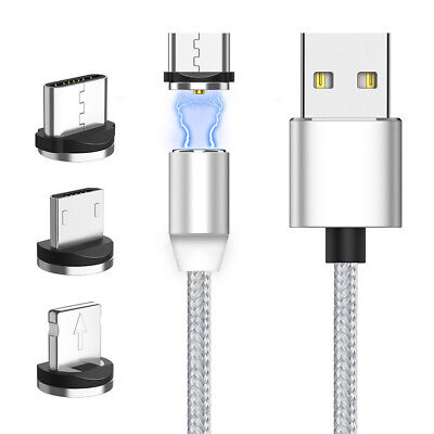 Magnetic Micro USB Charger Charging Braided Cable For iPhone Samsung Type-C