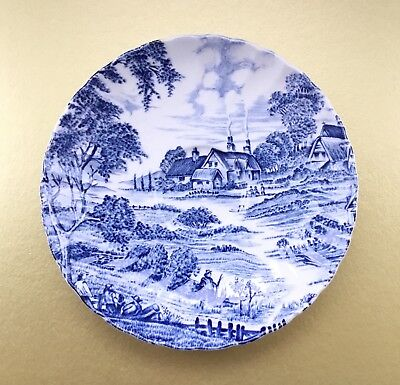 Ridgway Ironstone Staffordshire Blue and White Meadowsweet Saucer - 14cm