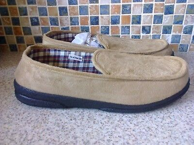 Cosies Mens Slippers Size Uk 8 Eu 42 Faux Suede Tartan Lining Taupe Colour New