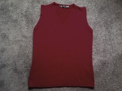 Jump Pure Wool Russet-red V-neck Knitted Vest S