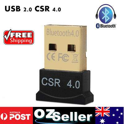 Mini Bluetooth 4.0 USB 2.0 CSR4.0 Dongle Adapter For Win 10 8 7 XP Laptop PC AU