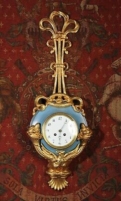 Antique French Cartel Wall Clock Large And Unusual Toleware And Gilt Brass C1900