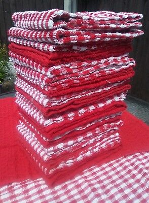 Pack of 3  x Terry tea towels cafe restaurant 100% cotton  absorbent  RED