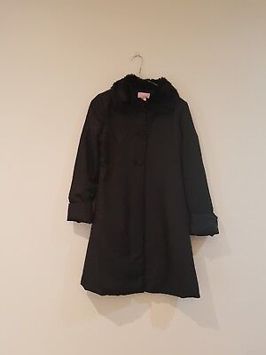 girls FRIENDS #12 full length black coat with fur collar VCG used