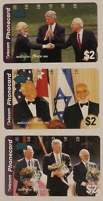 Telecom Telstra 1994 Middle East Peace Phonecards set of 3 MINT condition