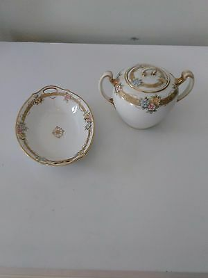 Vintage Hand Painted Nippon Japan Sugar Bowl and Matching Tray