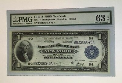 1918 Federal Reserve Note FRBN $1, FR# 713 New York, Graded PMG 63 EPQ
