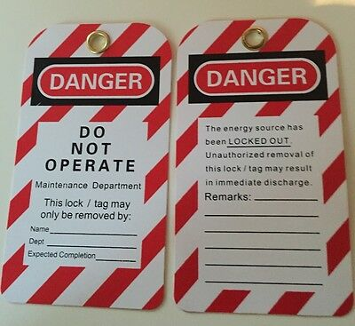 Lockout Lock off Danger Tags (reusable) - Do Not Operate - Pack of 10.