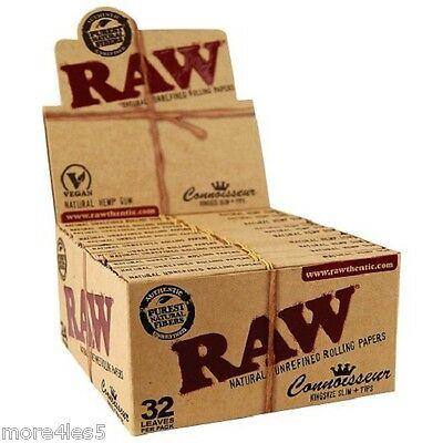 RAW Classic Connoisseur King Size Slim Rolling Papers With Tips 24 Booklets Box