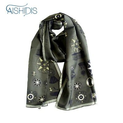 Trendy Long Silk Scarf, Vintage Style Wrap for Men & Women, New Striped Muffler