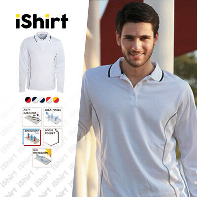 Mens Polo Shirt 100% Polyester Cool Dry Stitch Essentials Long Sleeve Polo