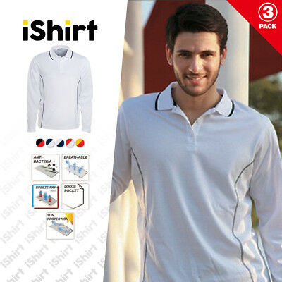 3Pcx Mens Polo Shirt 100% Polyester Cool Dry Stitch Essentials Long Sleeve Polo