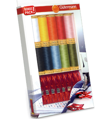 GUTERMANN SEWING COTTON THREAD SET & FABRIC CLIPS MANY COLOURS 10 x 100m REELS