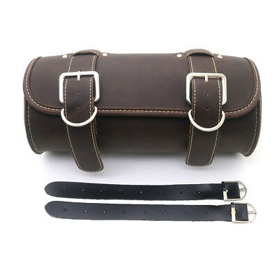 Motorcycle Dark Brown PU Leather Saddlebag Round Barrel Saddle Tool Bag F harley
