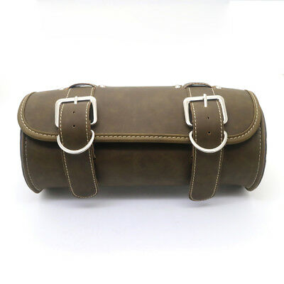 Motorcycle PU Leather Vintage Saddlebag Round Barrel Saddle Tool Bag For honda