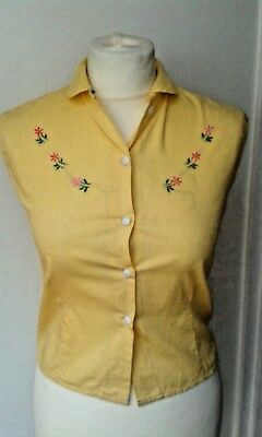 Yellow vintage 1950s sleeveless blouse UK size 8