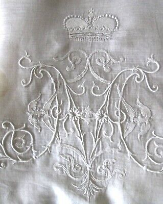 "v fine embroidered antique pillow cover white batiste 17"" sq w royal monogram MV"