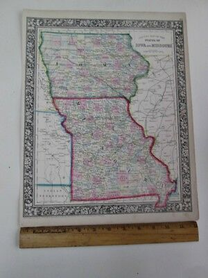 "Vintage MAP of IOWA, MISSOURI & Counties,1860, Mitchell,15 3/8"" x 12 1/4"""