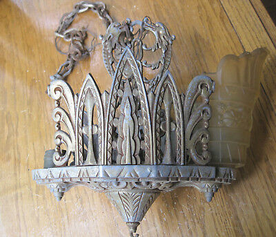 Cast Aluminum Art Deco 2 Light Hanging Ceiling Fixture with One Shade