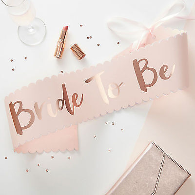 HEN PARTY Rose Gold BRIDE TO BE SASH Quality Boxed Gift Team Bride Party Classy