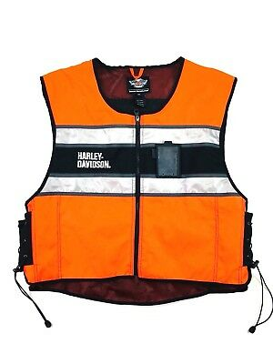 (5163) Harley Davidson Mens High Visibility Reflective Orange Vest 3XL Road Work