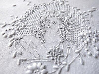 LADIES in CAMEO Antique APPENZELL Hand Embroidery 2 Round Linen Placemats Doily