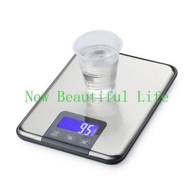 15KG*1g Kitchen Electronic Digital Weight Balances Slim Stainless Steel Scales