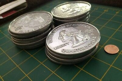BUNDLE OF 20 Huge ASSORTED 3 Inch Coins Novelty Metal STATEHOOD QUARTER Coasters