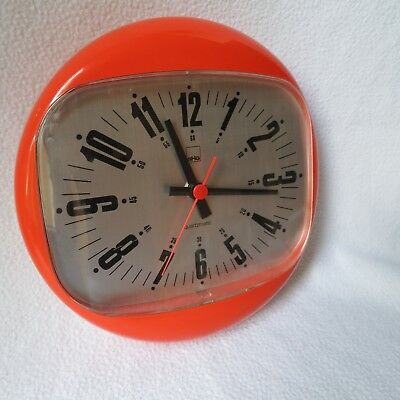 SHG quartzmatic Design Wanduhr Germany Kunststoff Küchenuhr Uhr orange 70er RAR