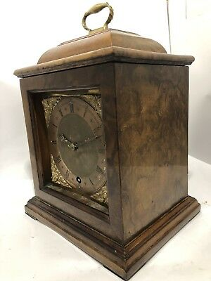 English Burr Walnut Mantle Clock