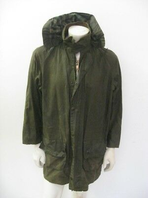BARBOUR Waxed Cotton Hooded Full Zip Long Parka Jacket Size 40