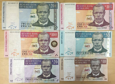 Malawi Banknote  Lot 6 Different Notes 1997-2004, Circulated