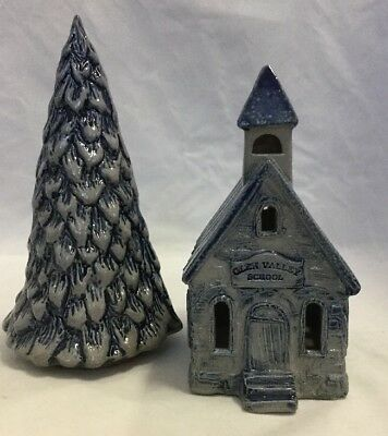 Rowe Pottery Village Collectible Glen Valley School 1998-Lighted