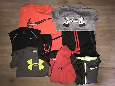 Lot Of 9 - Nike & Under Armour Hoodies Shirts & Shorts Size S Small 7 8