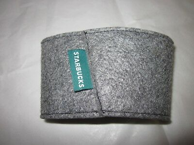Starbucks Reusable Cup Sleeve ~ Coffee or Hot Tea ~ Solid Grey Felt ~ FREE SHIP