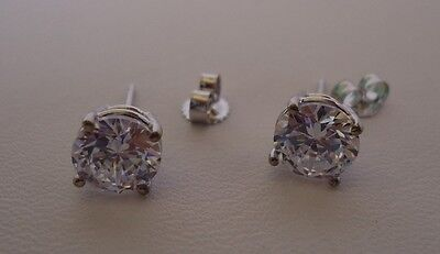 2 Cts Round Diamond Stud Earrings 14K Solid White Gold Made In Usa