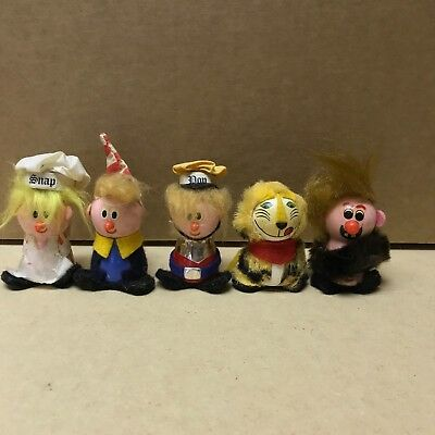 Vintage Snap Crackle Pop and Caveman Kellogg's Rice Krispies Dolls 1972