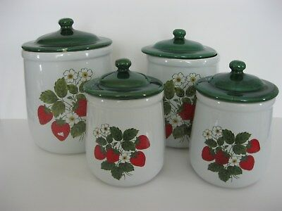 Vintage McCoy Strawberry Canisters Set (4) Signed READ CONDITION