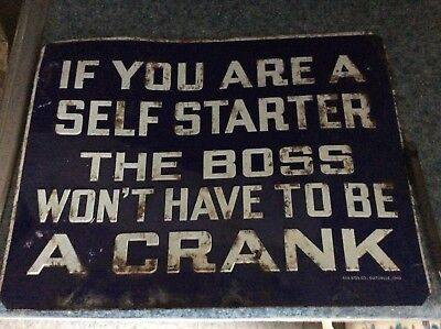 Rare Vintage Automobile Crank sign car AAA model T ford boss sign funny