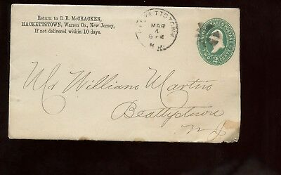 US Mid-Atlantic Stationery Cover 1893 Hackettstown, New Jersey with Enclosure